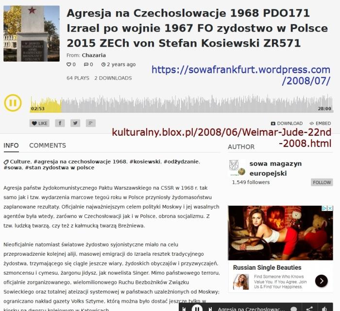 Agresja na Czechoslowacje 1968 PDO171 Izrael po wojnie 1967 FO zydostwo w Polsce 2015 ZECh von Stefan Kosiewski ZR571