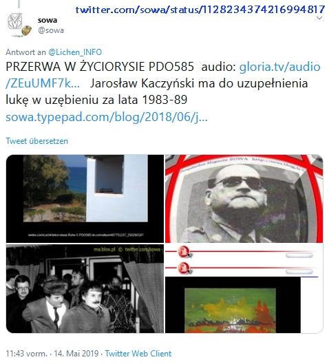 """Screenshot_2019-07-09 sowa auf Twitter """" Lichen_INFO PRZERWA W ŻYCIORYSIE PDO585 audio https t co 4qVEjdLrJi Jarosław Kaczy[...]"""