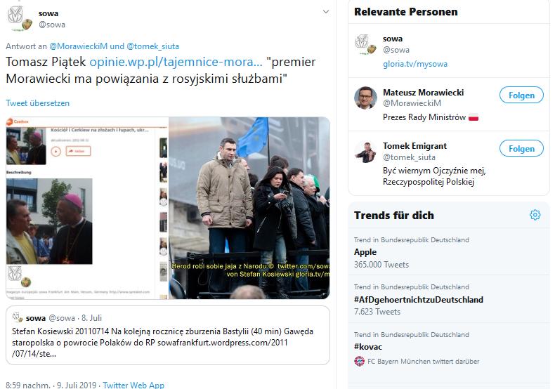 "Screenshot_2019-07-09 sowa auf Twitter "" MorawieckiM tomek_siuta Tomasz Piątek https t co QB4wfnBFLE premier Morawiecki ma [...]"
