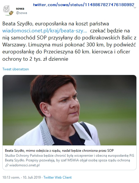 """Screenshot_2019-07-10 sowa auf Twitter """"Beata Szydło, europosłanka na koszt państwa https t co qlBG1u2aJw czekać będzie na [...]"""