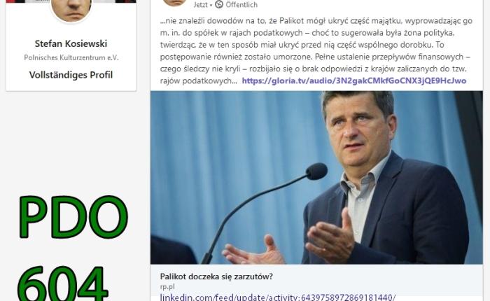 Ruch Palikota, ruch w jedynie słusznym kierunku PDO604 czyli do usunięcia J.K. Bielecki FO von Stefan KosiewskiSSetKh