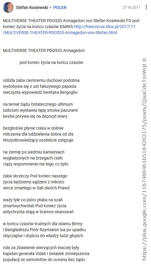 MULTIVERSE THEATER PDO533 Armagedon von Stefan Kosiewski FO pod koniec zycia