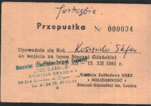 Przepustka do Stoczni Gdanskiej na 13.12.1981