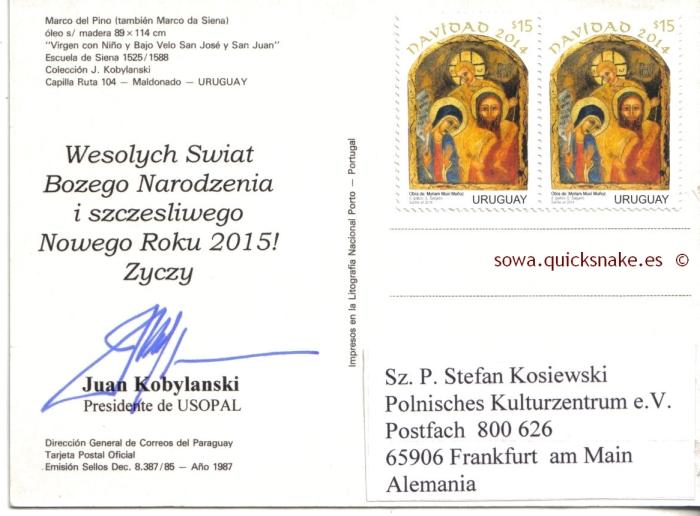 Wesolych Swiat Bozego Narodzenia i szczesliwego Nowego Roku 2015! Zyczy Juan Kobylanski Presidente deUSOPAL