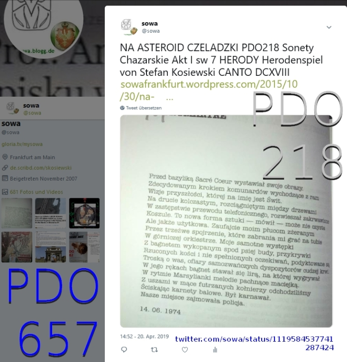 NA ASTEROID CZELADZKI PDO218 Sonety Chazarskie Akt I sw 7 HERODY Herodenspiel von Stefan Kosiewski CANTODCXVIII