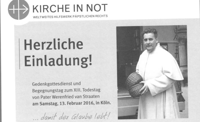 Zum Pater-Werenfried-Jahresgedächtnis am 13. Februar 2016 im KölnerDom