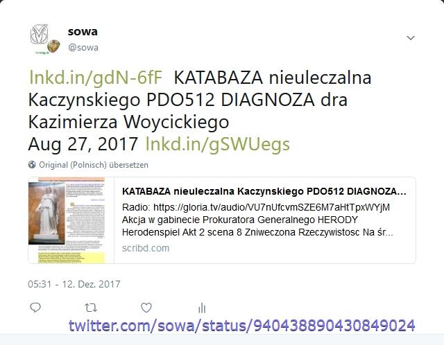 KATABAZA nieuleczalna Kaczynskiego PDO512 DIAGNOZA dra Kazimierza Wojcickiego