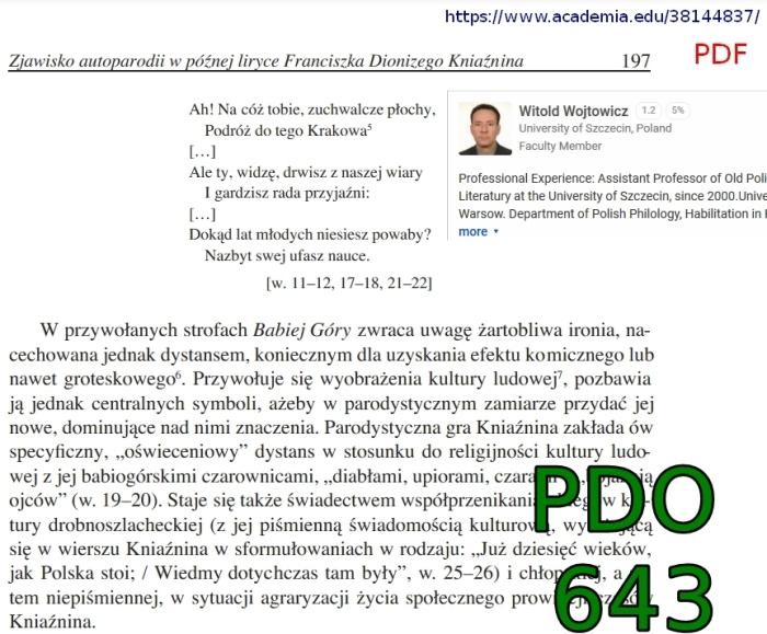 zjawisko autoparodii w późnej liryce franciszka dionizego kniaźnina, ruch literacki 2014, z 2, s 195-[...](1)