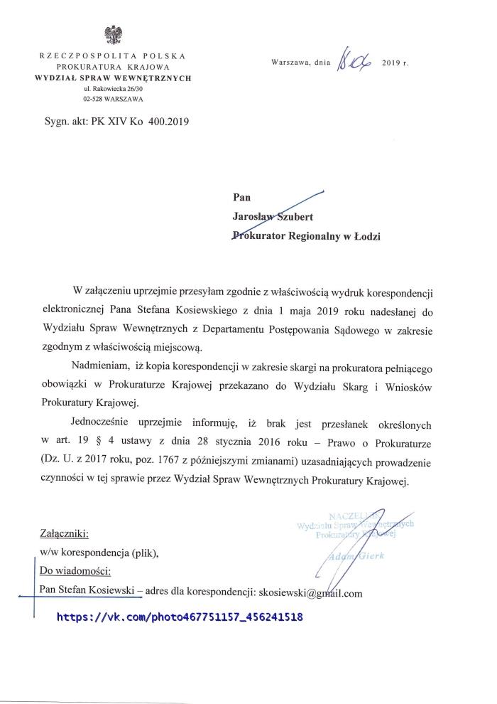 PK XIV KO 400.2019-1 Prokurator Adam Gierk