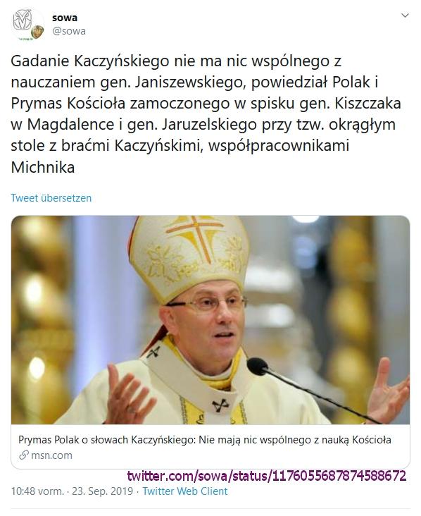 """Screenshot_2019-09-24 sowa auf Twitter """"Gadanie Kaczyńskiego nie ma nic wspólnego z nauczaniem gen Janiszewskiego, powiedzi[...]"""