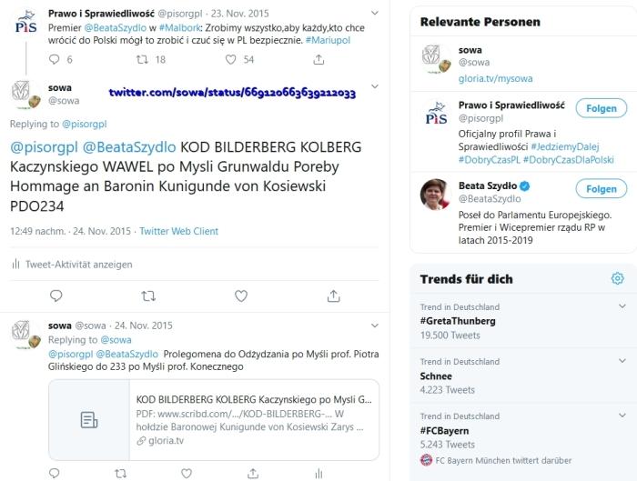 """Screenshot_2019-12-11 sowa auf Twitter """" pisorgpl BeataSzydlo KOD BILDERBERG KOLBERG Kaczynskiego WAWEL po Mysli Grunwaldu [...]"""