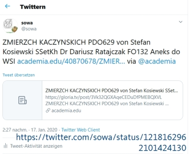 """Screenshot_2020-01-18 (1) sowa auf Twitter """"ZMIERZCH KACZYNSKICH PDO629 von Stefan Kosiewski SSetKh Dr Dariusz Ratajczak FO[...]"""