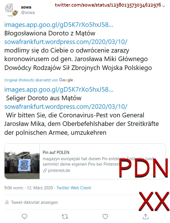 PDNXX Screenshot_2020-03-12 (2) sowa auf Twitter https t co UKQCHigEyT Błogosławiona Doroto z Mątów https t co vCtLOHS9ND modlimy[