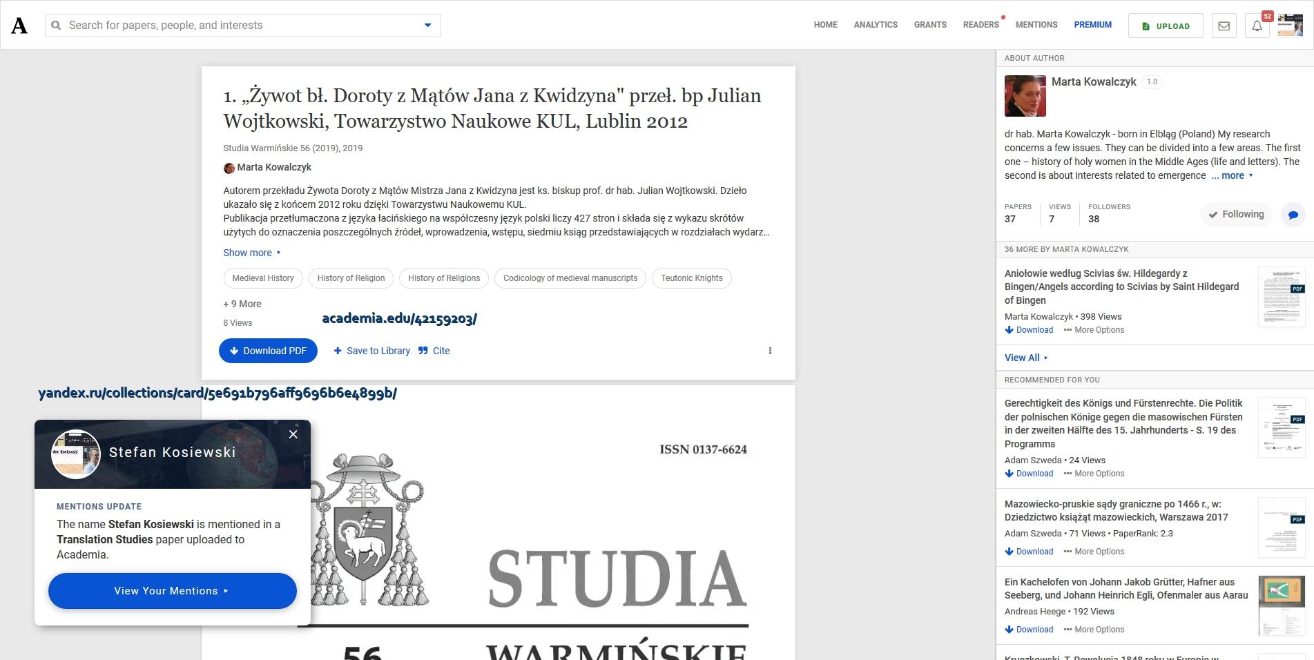 """Screenshot_2020-03-11 1 """"Żywot bł Doroty z Mątów Jana z Kwidzyna przeł bp Julian Wojtkowski, Towarzystwo Naukowe KUL, Lubli[...]"""