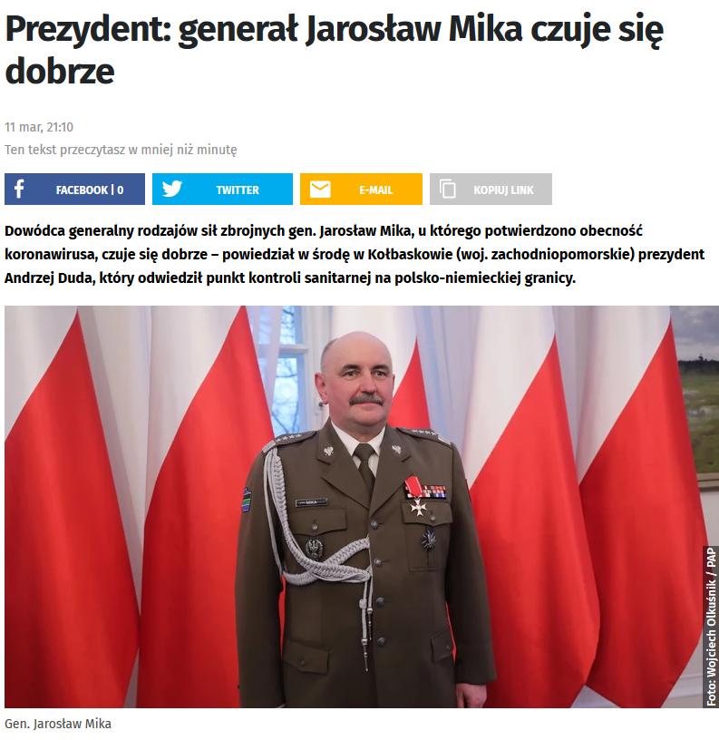 Screenshot_2020-03-20 Prezydent generał Jarosław Mika czuje się dobrze