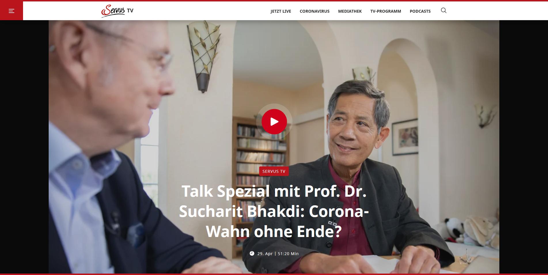 Screenshot_2020-04-30 Talk Spezial mit Prof Dr Sucharit Bhakdi Corona-Wahn ohne Ende - Servus TV