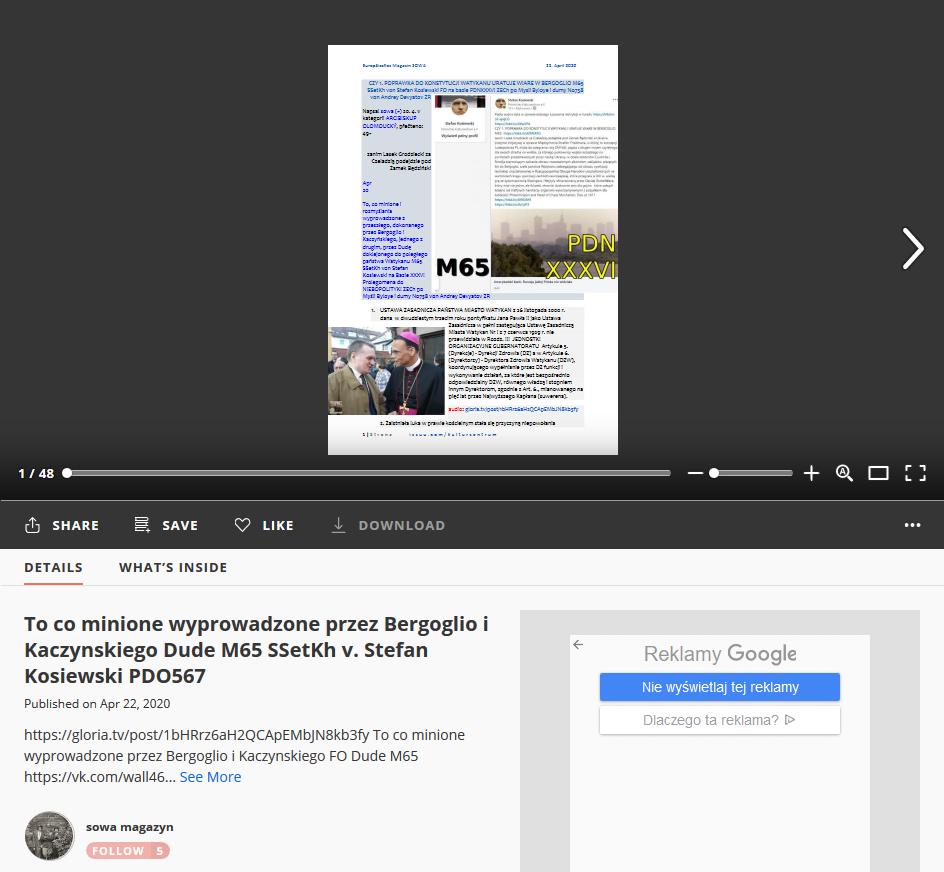 Screenshot_2020-05-03 To co minione wyprowadzone przez Bergoglio i Kaczynskiego Dude M65 SSetKh v Stefan Kosiewski PDO567
