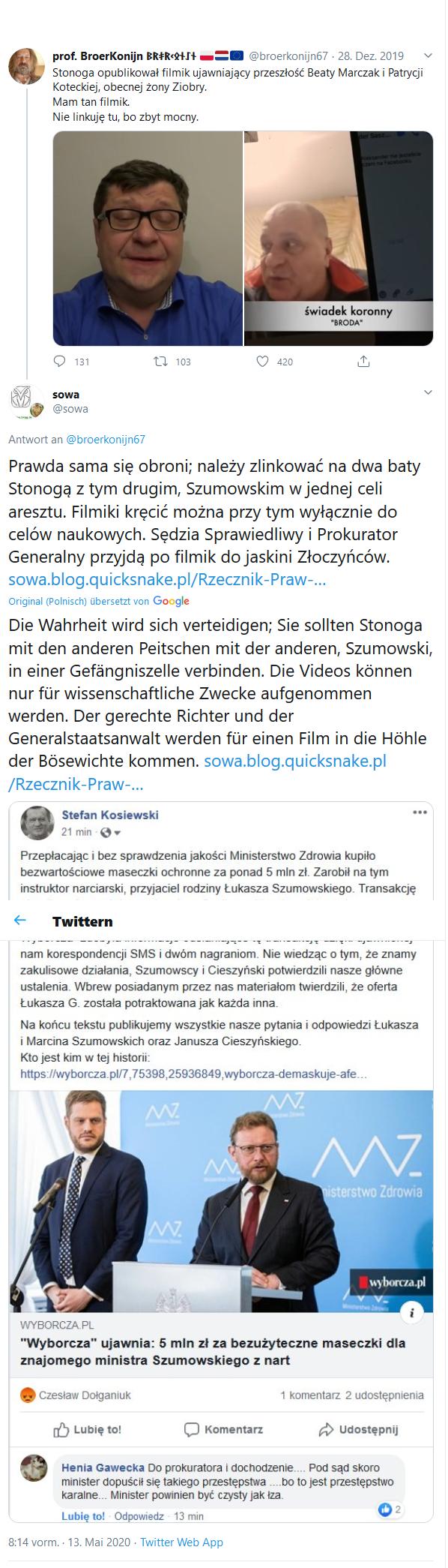 Screenshot_2020-05-13 (1) sowa auf Twitter broerkonijn67 Prawda sama się obroni; należy zlinkować na dwa baty Stonogą z tym[...]